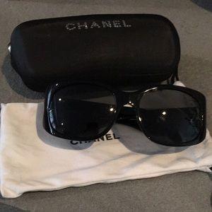 Authentic Chanel black sunglasses with Swarovski